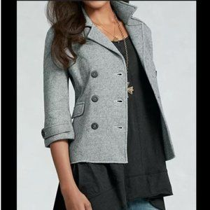 CAbi Modern Cropped Gray Heather Peacoat Small